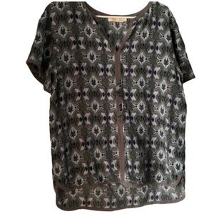 Tory Burch Silk Issy Floral Top Purple Vneck Top